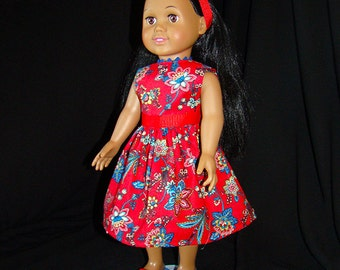 """American Girl Style 18"""" Dolls fit into this Red & Blue Tropical Spring or Summer Dress! Beautiful Outfit for School or Dress Up Doll Clothes"""