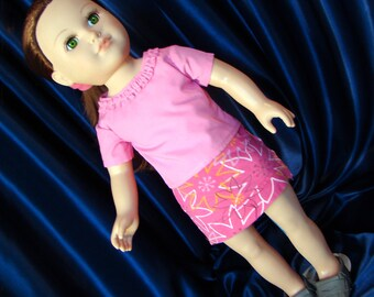 """Pink Mini Skirt & T-Shirt; Doll Outfit; for American Girl Style 18"""" Dolls! School and Dress Up Doll Clothes."""