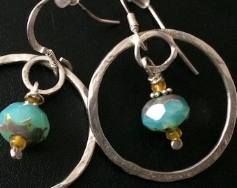 Silver with  Blue Czech Glass Drop Circle Earrings. Gyspy Inspired Elegance.