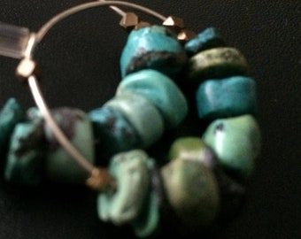 Turquoise multi chip earrings