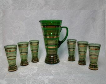 Empoli Region Of Italy Made Green Pitcher & Matching Glasses Gold Gilded