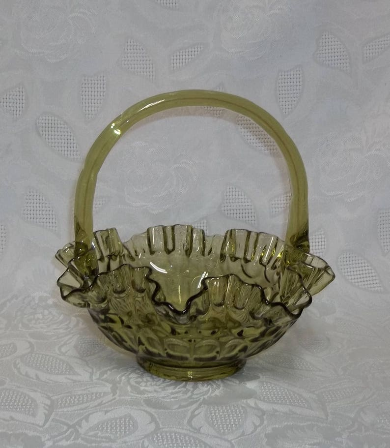 Glass Vintage Fenton Art Glass Crimped Basket Colonal Green Thumbprint
