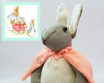 FLOPSY BUNNY, Beatrix Potter, handknitted rabbit, hand knitted nursery toy, knitted rabbit, knitted soft toy, knitted children's toy, animal