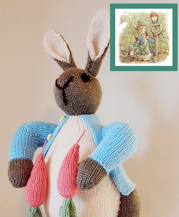 Peter Rabbit Beatrix Potter Handknitted Rabbit Hand Knitted Etsy
