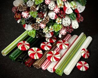 New Christmas Sampler, 1.5oz 96 COE Murrini Millefiori Murrine