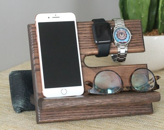 SHIPS SAME DAY | Kona Wallet | Oak Nightstand Valet | Phone Charging Dock | Oak Docking Station | Tech Gift Men | Father's Day