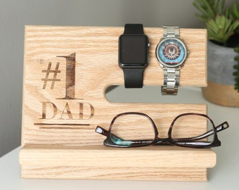 SHIPS SAME DAY | Number #1 Dad | Father's Day Nightstand Organizer | iPhone Galaxy Phone Dock | Oak Valet | Gift for Dad | Men's Gift Guide