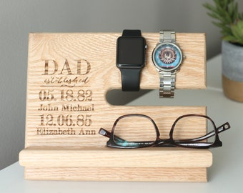 Dad Father Custom Names | Night Stand Oak Wood Valet | iPhone Galaxy Charging Stand | Nightstand Dock | Father's Day | Personalized Valet