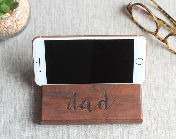 Featured listing image: Personalized Walnut Desktop Cell Phone Dock