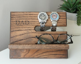 24 Hour Ship KONA DAD | Oak Wood Valet iPhone Galaxy Charging Stand Nightstand Dock Father's | Ready To Ship | Father's Day | Tech Gift Men