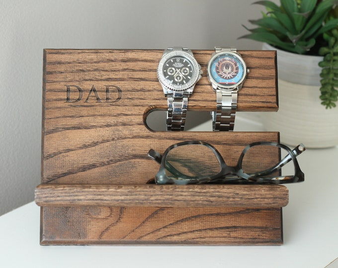 24 Hour Ship KONA DAD   Oak Wood Valet iPhone Galaxy Charging Stand Nightstand Dock Father's   Ready To Ship   Father's Day   Tech Gift Men