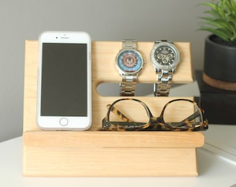Premium Hickory Valet Gorgeous Wood Reclaimed Valet Universal iPhone Galaxy Charging Stand Dock Graduation Father's Day Jawbone