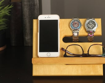 Same Day Ship Yellowheart Limited Quantities Premium Valet Gorgeous Wood Reclaimed Yellow Heart Wood Valet iPhone Galaxy Charging Stand Dock