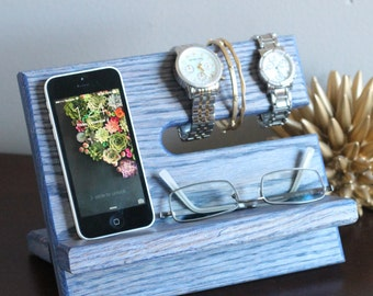 Unique Blue Stained Night Stand Oak Wood Valet iPhone Galaxy Charging Stand Nightstand Dock Graduation Father's Day Birthday For Him