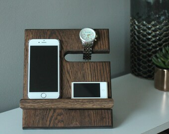 SHIPS SAME DAY | Kona Mini Valet | Tech Gift Men | Miniature Night Stand Oak Wood Valet iPhone Galaxy Nightstand Dock | Father's Day