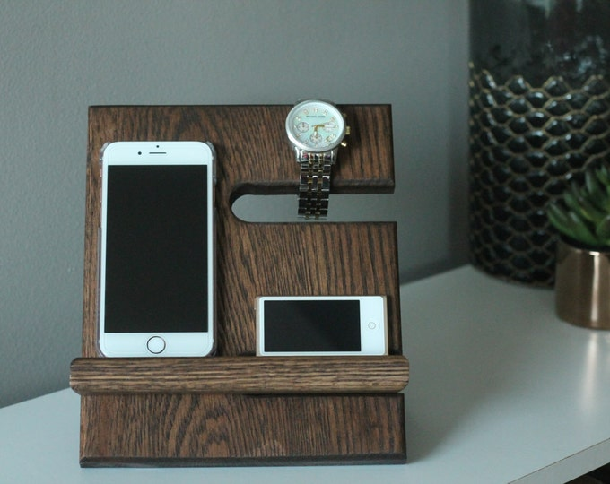 Miniature Night Stand Oak Wood Valet iPhone Galaxy Charging Stand Nightstand Dock Graduation Father's Day Birthday For Him