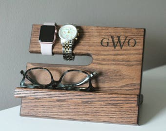 Ships Same Day | LEFT HANDED Kona Night Stand Oak Wood Valet iPhone Galaxy  | Tech Gift Men | Father's Day Birthday Him
