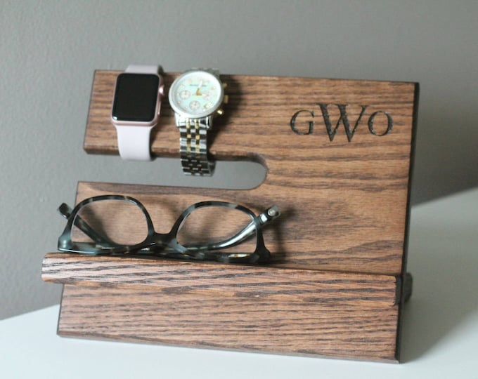 Ships Same Day   LEFT HANDED Kona Night Stand Oak Wood Valet iPhone Galaxy    Tech Gift Men   Father's Day Birthday Him