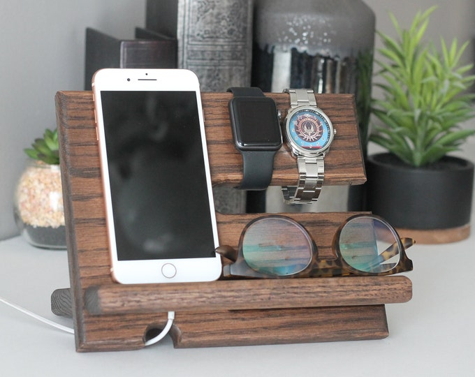 24 Hour Ship Charger Cord Night Stand Oak Wood Valet  iPhone Charging Stand  Nightstand Dock   Graduation Father's Day Birthday For Him 