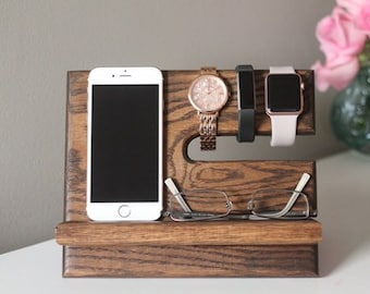 SHIPS SAME DAY Kona Stain Docking Station | Tech Goft Men | Night Stand Oak Wood Valet | iPhone Galaxy Tech Gift Stand