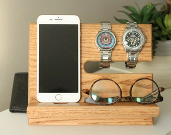 SHIPS SAME DAY | Natural Stain Wallet | Oak Nightstand Valet | Phone Charging Dock | Tech Gift Men | Father's Day | Docking Station