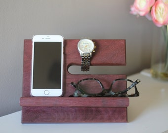 Purpleheart Limited Quantities Premium Valet Gorgeous Wood  Reclaimed Purpleheart Wood Valet iPhone Galaxy Charging Stand Dock Graduation