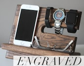 Night Stand Oak Wood Valet |iPhone Galaxy Charging Stand | Nightstand Dock | Graduation Father's Day Birthday For Him | Docking Station Tech