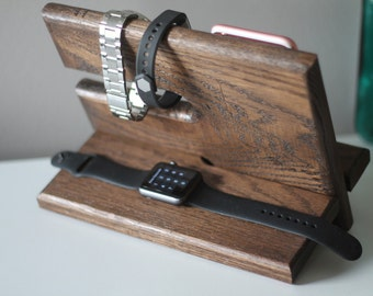 Same Day Ship EBONY Apple Watch Charger Valet Night Stand Oak Wood Valet iPhone Galaxy Charging Stand Nightstand Dock Graduation Father's Da