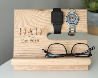 SHIPS SAME DAY | Dad Eat 2018 | Fathers Day Universal  Wood Dock Night Stand Oak Valet |  Stand | Graduation Father's Day Birthday For Him|