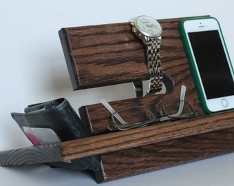 Left handed Large Model A Wallet Night Stand Oak Wood Valet iPhone Galaxy Charging Stand Nightstand Dock Graduation Birthday Father's Gift