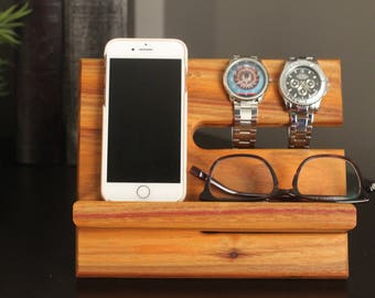 Premium Valet Canarywood Canary Wood Gorgeous Wood  Reclaimed Valet iPhone Galaxy Charging Stand Dock Graduation Father gift