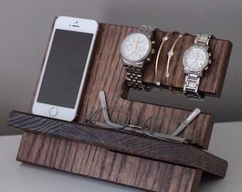 SHIPS SAME DAY Oak Wood Valet| Diy | Tech Gift Personalized |iPhone Galaxy Charging Stand | Nightstand | Tech Gift Men | Father's Day