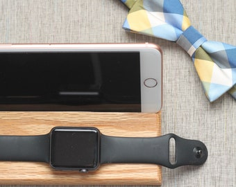 Tech Gift Men | iPhone and Apple Watch Docking Station | Walnut Custom Engraveable | iPhone Nightstand | Gift for Him
