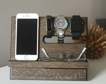 SHIPS SAME DAY | Ebony | Tech Gift Men | Natural Oak Wood Valet iPhone Galaxy Charging Stand Nightstand Dock | Father's Day | Tech Gift Men