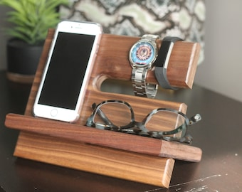 SHIPS SAME DAY | Tech Gift Men | Premium Walnut Valet Wood Reclaimed Valet | Universal iPhone Galaxy Charging Stand Dock | Father's Day