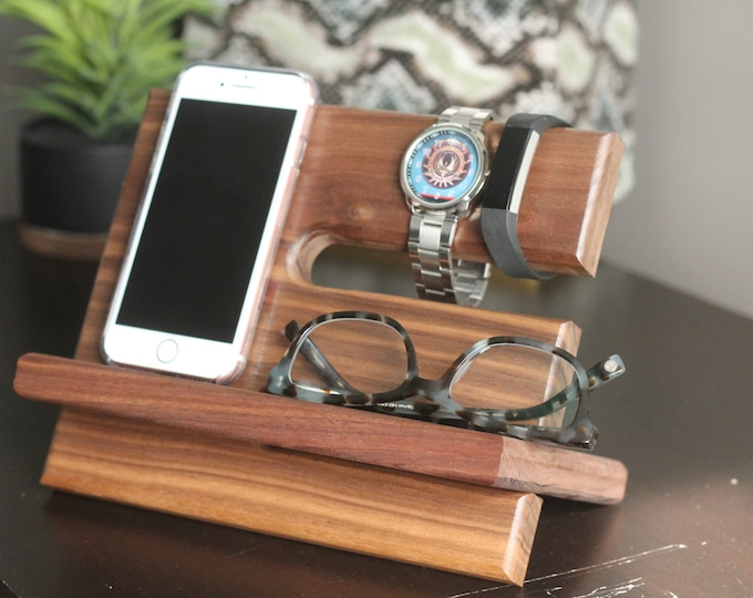 SHIPS SAME DAY   Tech Gift Men   Premium Walnut Valet Wood Reclaimed Valet   Universal iPhone Galaxy Charging Stand Dock   Father's Day