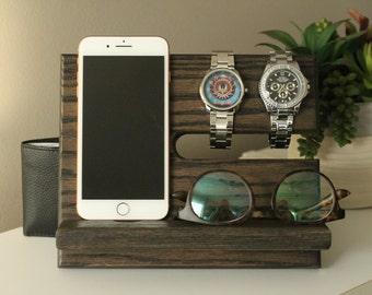 Oak Nightstand Valet Wooden Phone Stand Phone Charging Etsy