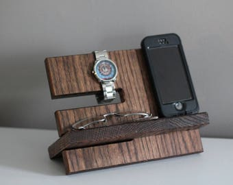 LEFT HANDED Night Stand Oak Wood Valet iPhone Galaxy Charging Stand Nightstand Dock Graduation Father's Day Birthday For Him
