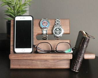Large WALNUT Wallet Model B Night Stand Oak Wood Valet iPhone Galaxy Charging Stand Nightstand Dock Father's Day Birthday For Him or Her