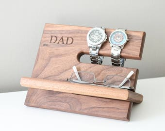 Walnut Father's Day Dad Night Stand Oak Wood Valet iPhone Galaxy Charging Stand Nightstand Dock Graduation