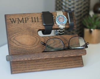 Personalized Dad Gifts Docking Station Men Fathers Day Gift from Son Fathers Day Gift from Wife Gifts for Dad Gifts for Him Phone Stand Wood