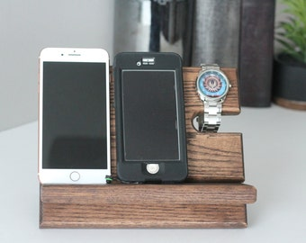 Two Phone Night Stand Oak Wood Valet