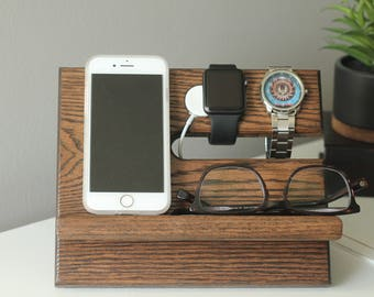 SHIPS SAME DAY | Kona Front Apple Watch Charger Valet | Night Stand Oak Wood Valet Galaxy Charging Stand | Tech Gift Men | Father's Day