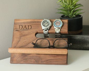 SHIPS SAME DAY | Tech Gift Men | Premium Walnut Dad | Valet Reclaimed Wood | iPhone Dock | Docking Station | Fathers Day Gift