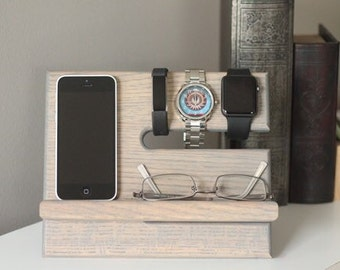 SHIPS SAME DAY | Gray Stain Oak Wood Valet | iPhone Docking Station | Tech Gift Men | iPhone Dock | Father's Day | Nightstand Phone Stand