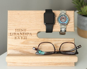 SHIPS SAME DAY | Best Grandpa Ever | Father's Day Universal Charging Station Wood Night Stand Oak Valet | Docking Stand | Gift For Him