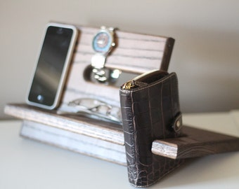 Large Wallet Model C Apple Watch Night Stand Oak Wood Valet IPhone Galaxy Charging Nightstand