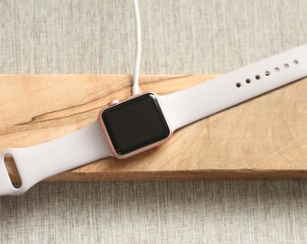 Limited Quanitites Premium Exotic Wood | Apple Watch Dock | Natural Wormy Maple Wood | Charger Valet | Custom Personalized Initials Engraved