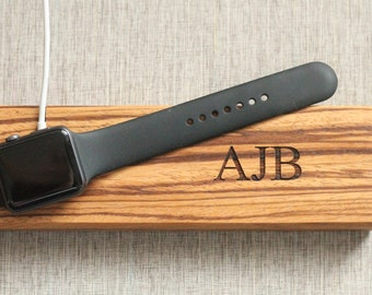 Limited Quanitites Premium Exotic Wood | Apple Watch Dock | Natural Zebra Wood | Charger Valet | Custom Personalized Initials Engraved Gift