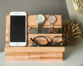 SHIPS SAME DAY | Wormy Maple Valet | Unique Premium Reclaimed Wood | iPhone Galaxy Tech Gift Men | Graduation Father's Day | Docking Station